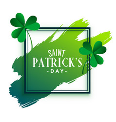 St patricks day frame with leaves and brush stroke vector