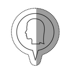 Sticker monochrome of circular speech with vector