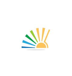 sun shine bright colored logo vector image