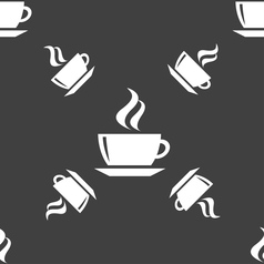 tea coffee icon sign Seamless pattern on a gray vector image