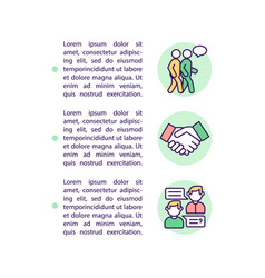 Teaching kids to interact concept line icons vector