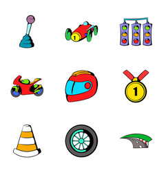Track icons set cartoon style vector