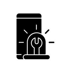 Urgent phone repairs black glyph icon vector