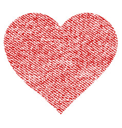 Valentine heart fabric textured icon vector