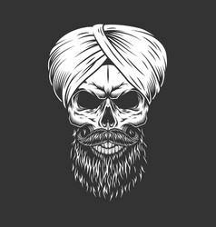Vintage hindu skull in indian turban vector