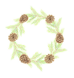 watercolor minimal christmas pine leaf and cone vector image