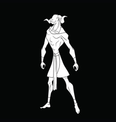 White outline drawing of the egyptian god khnum vector