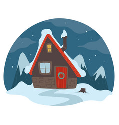 winter landscape at night house and snowing vector image