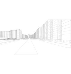 Wire-frame buildings and street vector