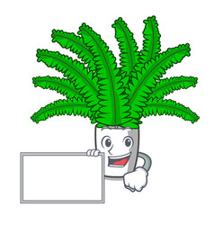 with board fern frond frame decoration on cartoon vector image