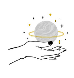 Womens hand holding textured planet and stars vector