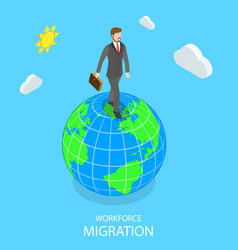 workforce migration flat isometric concept vector image