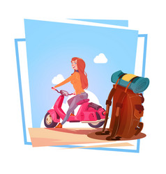 young girl with backpack travel on electric vector image