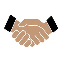 business handshake icon on white background vector image
