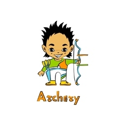 Cartoon Boy Archer with bow vector image vector image