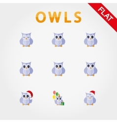 Cute collection of owls with different eye vector image vector image