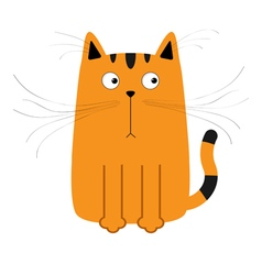 Cute red orange and black cartoon cat Big mustache vector image vector image