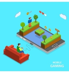 Mobile gaming flat isometric concept vector image vector image