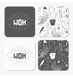 Square table coaster templates set with doodle wok vector image