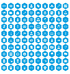 100 criminal offence icons set blue vector image vector image
