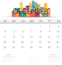 2016 calendar with Creative building design vector image