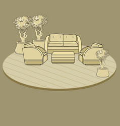 chairs table and flowers in pot on terrace o vector image vector image