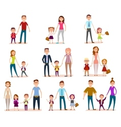 Collection of Parents with Their School Children vector image