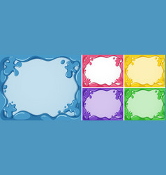 Five frame templates in different colors vector