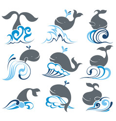 whale and sea waves vector image
