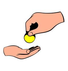 a hand giving a coin icon icon cartoon vector image vector image