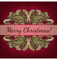 Christmas card with decorative frame vector image vector image