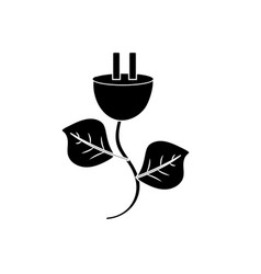 Contour power cable with leaves to environment vector
