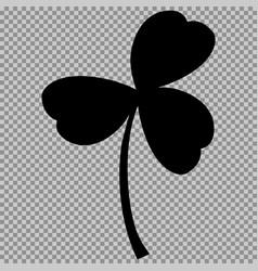 leaf clover sign black a symbol on a transparent vector image vector image