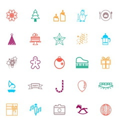 New year and christmas line icons flat color vector image
