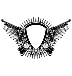 shield with crossed machine guns and grenade vector image vector image