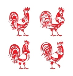 Stylized red cockerel rooster silhouette set vector image vector image