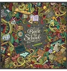 Cartoon cute doodles school frame vector