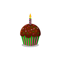 cup cake wirh burning candle vector image