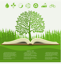 ecology info graphics modern design green tree vector image vector image