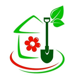green garden icon with house flower and shovel vector image vector image