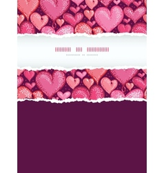 Red Valentines Day Hearts Vertical Torn Frame vector image