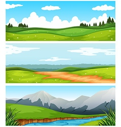 Scenes with field and road in countryside vector image vector image