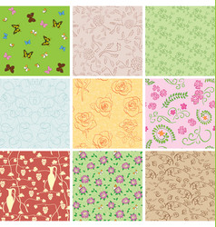 seamless patterns with plants and butterflies vector image vector image