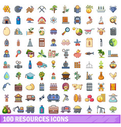 100 resources icons set cartoon style vector