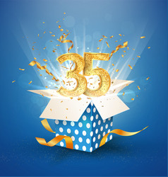35 th years anniversary and open gift box vector