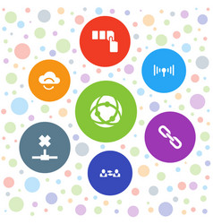 7 internet icons vector image