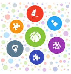 7 leisure icons vector