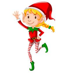A christmas girl elf on white background vector