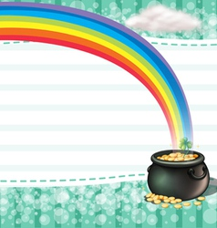 A pot full of coins with a clover plant vector image