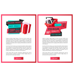 advertising promo stickers on web pages templates vector image